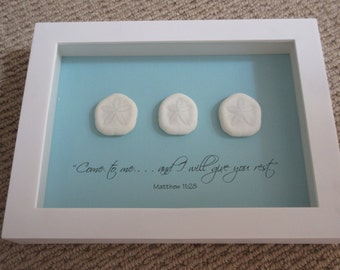 Coastal WORD Art with Sea Biscuit Shells and Bible Verse  - 8 x 11 -  Aqua Blue and White - Come to Me