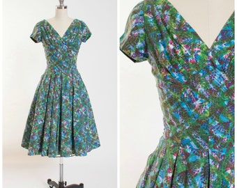 1950s Vintage Day Dress  • Sea of Love • Watercolor Print Cotton Vintage 50s Dress with Shelf Bust Size Small