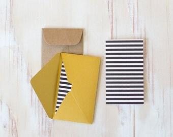 "Black + White Stripe Mini Folded Cards - 10 pc - 2"" x 3.5"""