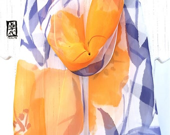 Silk Chiffon Scarf, Orange Silk Summer scarf, Handpainted Scarf, Orange and Navy Blue Primroses Scarf, Takuyo, 11x60 inches. Made to order
