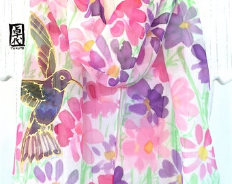 Bird Scarf, Mothers Day Gift, Silk Scarf Handpainted, ETSY, Pink Chiffon Scarf, Hummingbird Scarf with Pink, Purple Cosmos, 11x60 inch