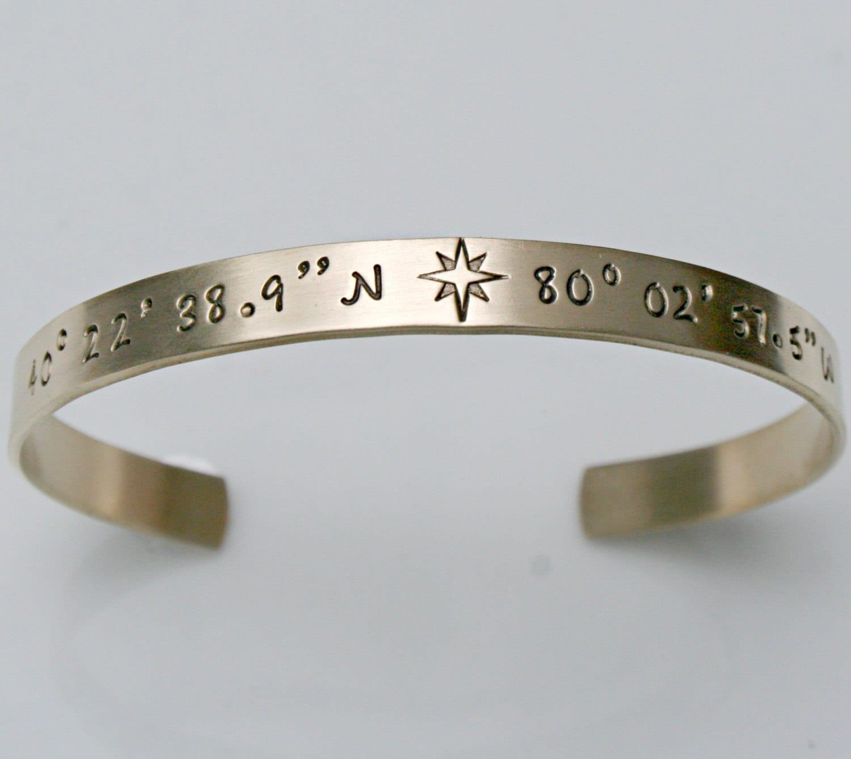 gold coordinate bracelet gps coordinate bracelet gold cuff