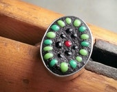 Green Mosaic Ring sterling silver