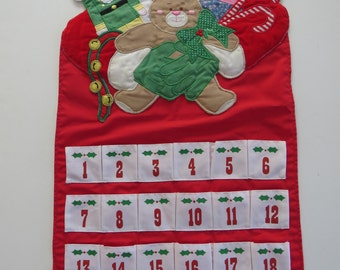 Santa Claus Advent Calendar by House of Hatten - Embroidered Appliqued Santa Toy Soldier Doll Teddy Bear - Count Down Days to Christmas