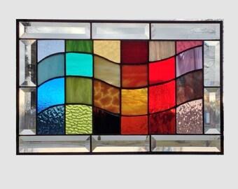 Beveled Stained glass panel window rainbow wave geometric abstract stained glass window panel suncatcher 0112 17 1/4 x 11 1/4