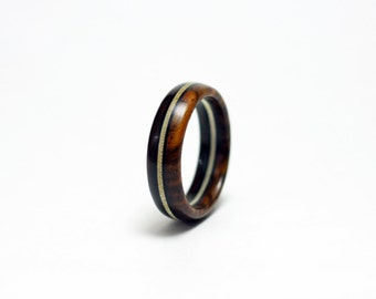 Wood Ring with Stained Wood Stripe