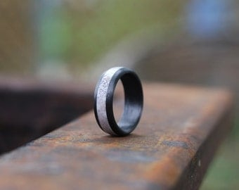 Antler Ring with Carbon Fiber