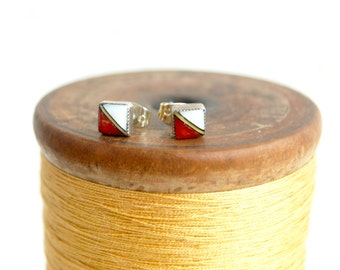 Vintage Zuni Earrings Square Red Coral Mother of Pearl Posts Studs Dainty Modern Jewelry