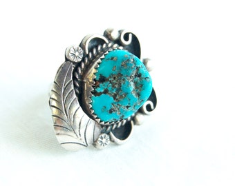 Turquoise Ring Native American Chunky Size 6 Vintage Southwestern Feather Boho Statement Jewelry