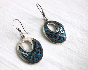 Turquoise Dangle Earrings Vintage Mexican Dangles Sterling Silver Blue Stone Chip Turquoise Jewelry Geometric Tribal
