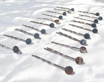 20 Silver Hair Pin Blanks, Silver Bobby Pin Blanks, Bobby Pin Findings, Hair Pin Findings, Pin Findings Silver, Flat Pad Hair Pin Findings