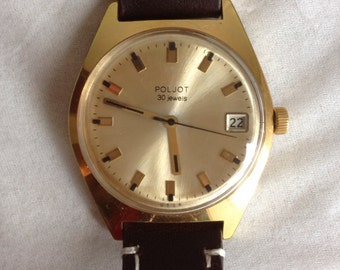 Poljot 30 Jewels Automatic Watch, Gold Plated. Leather Strap. Serviced and working