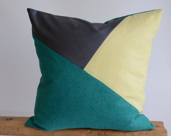 Modern Pillow/Teal/ Pistachio/Navy Blue Leather/Triangle/Custom Pillow/Handmade/Eclectic/ZigZag Studio Design