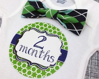 Baby Bow Tie Onesie®, Baby Bowtie Onesie®, Monthly Onesie®, Monthly Baby Stickers Boy, Baby Month Stickers Boy, Baby Boy, Green, Navy Blue