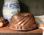 "Antique copper bundt pan mold 1839, 11"" bundt cake mold"
