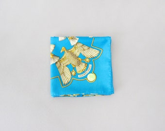Vintage Hermes Silk Scarf Egyptian Themed / Scarab Turquoise 1970's 90 cm