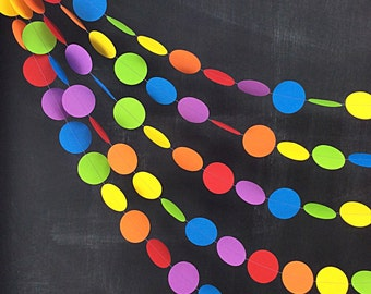 Rainbows Dots 20ft Garland: Rainbow Birthday Party, 1st Birthday Girl, Classroom Decor, Photo Backdrop, Carnival Decor, Noah's Ark Party