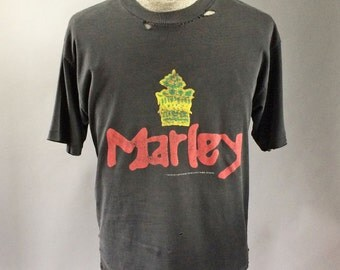 Bob Marley 1990s Vintage Concert T-Shirt Faded Grey MARLEY Crown