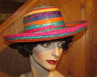 Summer Straw Hat - 80's Multi-Color - Vacation Bucket Hat with Rolled Brim