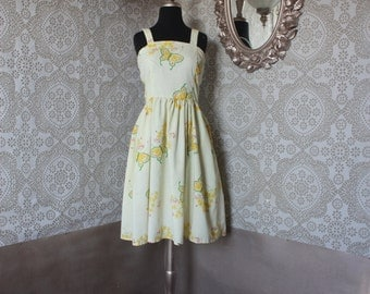 Vintage 1960's 70's Yellow Sundress with Butterfly and Floral Print M/L