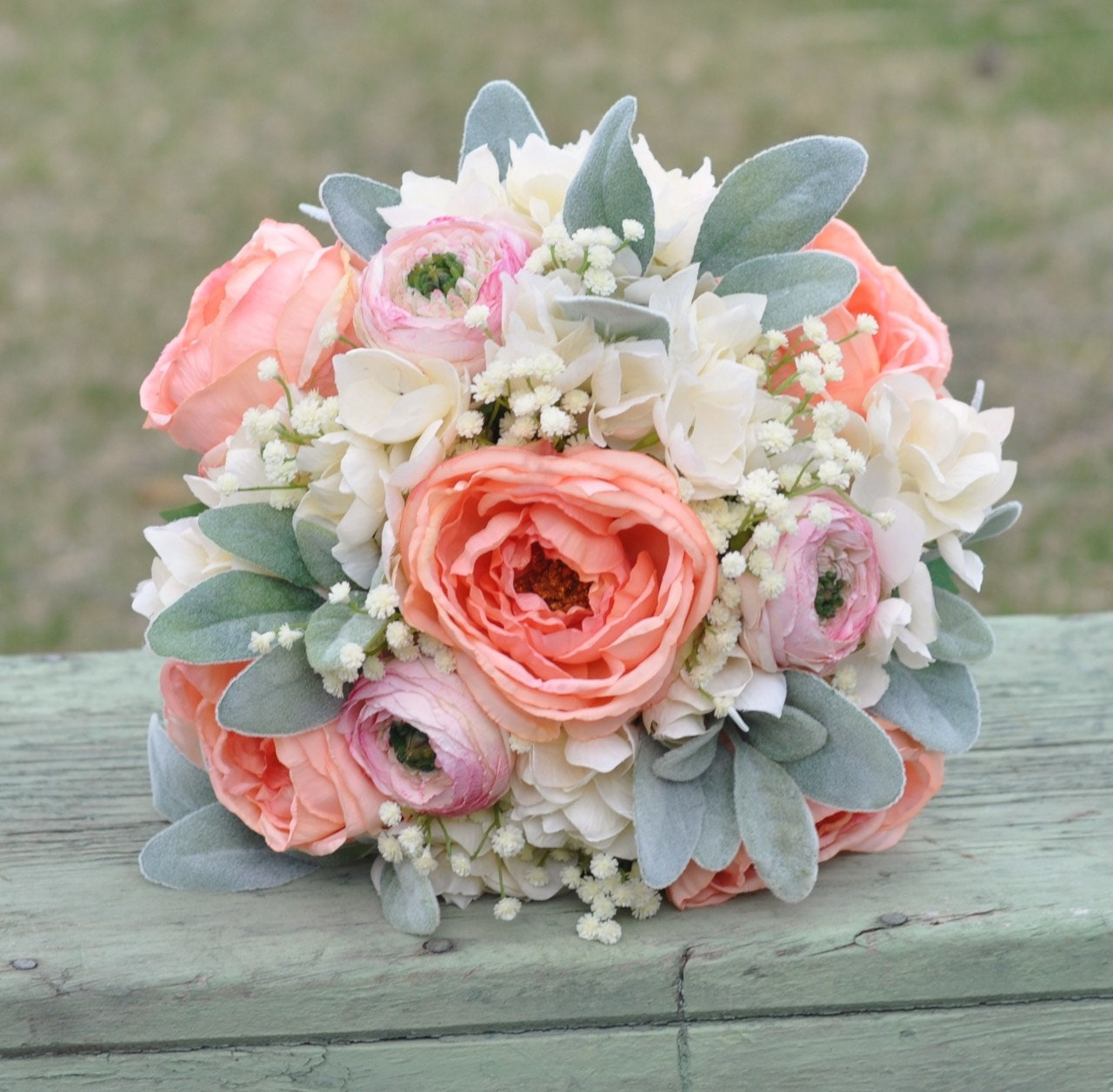 Coral And Pink Wedding Flowers: Silk Wedding Bouquet Made With Coral Roses Pink Ranunculus