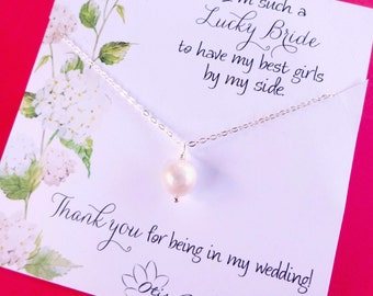 Bridesmaid thank you gift, Simple pearl necklace, freshwater pearl, classic wedding jewelry, bridal party gifts, natural pearls, otis b