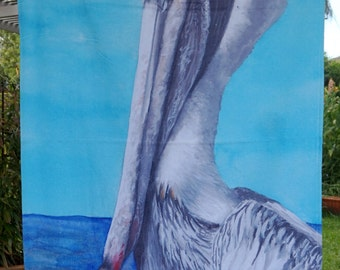 Beach Towel With Pelican Painting