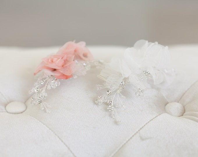 Crystal Bridal Headpiece, Ivory Flower Bridal Hair Comb, Wedding Hair Accessories, Blush Flower Headpiece, Bridal Hair Accessories