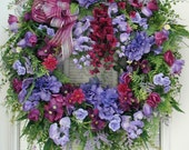 Summer Wreath Spring Front Door Decoration Purple Hydrangeas Wisteria Large Fireplace Wreath Grapevine Silk Floral Elegant Wall Hanging