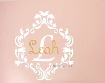Girls Monogram Wall Decal Baby Girl Nursery Vinyl Lettering Damask Frame Name Decals  Personalized Wall Art Girls Room Decor Kids Decals