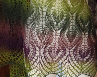 Hand Knit Lace Shawl, Lace Triangle Scarf, Hand Knitted Lace Shawl in Purple and Green