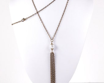 Tassel Necklace Long Antique Brass Chain Pendant with White Pearl Pendant