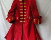 Teen's Crimson Velvet Pirate Frock Coat: Jack Sparrow, Elizabeth Swann, Captain Hook - Fully Lined, 100% Cotton, Teen Size 14, Ready To Ship