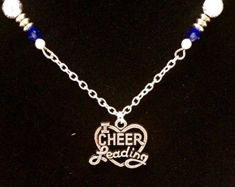 Cheerleading blue necklace