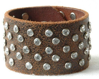 Leather Cuff Bracelet - Womens Brown Leather with Hand Set Crystal Jewels and  Vintage Snap - Custom order!