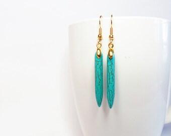 Turquoise Earrings Spike Drop Earrings - Boho Earrings Bohemian Earrings  Dangle Earrings Turquoise Magnesite Earrings - Boho Earrings