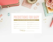 Instant Download - Old Fashioned Pink and Gold Predictions for Baby Cards