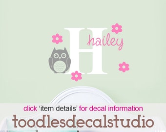 Cute Owl Wall Decal for girls, Vinyl Owl Stickers, Flower Wall Decal, Name Decal for Baby Nursery, Girls Name Decal, Custom Color Decal