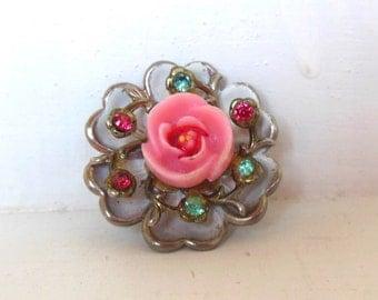Vintage Brooch Rhinestone Flower Enamel White Pink Blue Silver 50's (item 208)