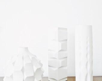 Mid Century Matte White Porcelain Vase // Heinrich Fuchs // Hutschenreuther Archais Series // Geometric Home Decor
