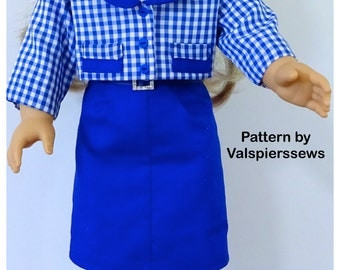"""1829 Valspierssews Doll Clothes Pattern, Fully lined Jacket to fit 18"""" Doll, Perfect Match for 1828 for that 50s look"""