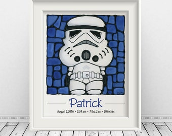 Stormtrooper Custom Print with Birth Details - Starwars Art - Star - Personalized Baby Announcement - Sci fi Nursery - 8 x 10 inch
