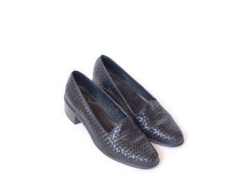 Vintage Nine West Black Woven Leather Shoes with Heel womens 9