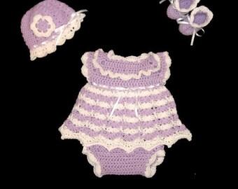 Purple Crochet Diaper Dress Set Newborn Baby Girl Layette Set Baby Girl Dress Purple Baby Dress Baby Girl Knit Dress Purple Baby Girl Outfit