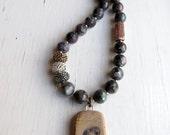 Wild - handmade necklace, owl jewellery, owl necklace, bead necklace, grey necklace, songbead, uk, silver jewelry, labradorite necklace