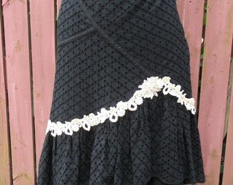 Black Eyelet Skirt with Vintage Cream Lace Trim - Altered Clothing Junk Gypsy - Size 12