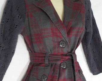 Red & Gray Plaid Sweater Jacket - Upcycled - Altered Clothing - Small