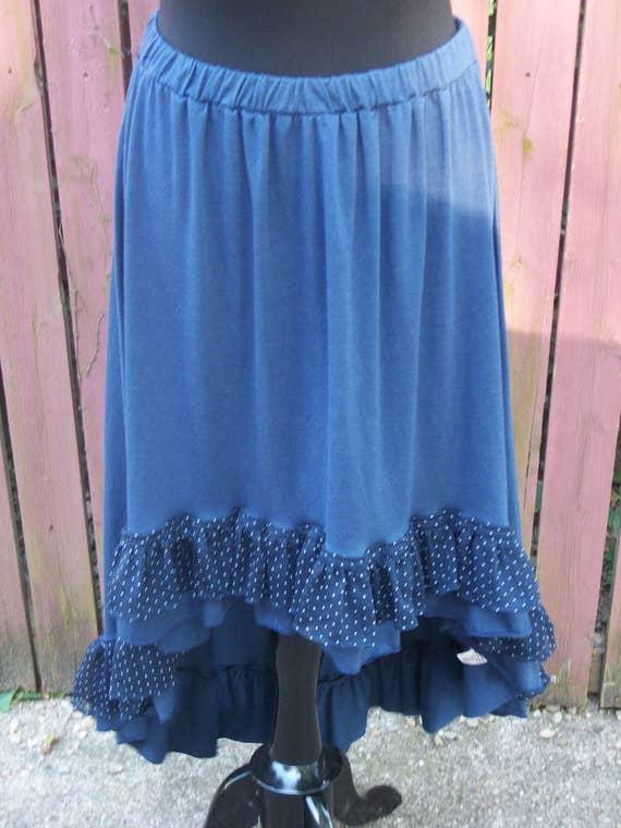 boho skirt blue skirt high low ruffle skirt