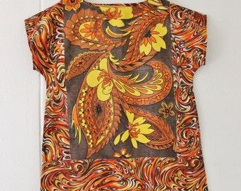 Upcycled Linen Womens Tunic  Dress Retro Eco Mini Mod Brown Orange Floral Cotton Large Plus