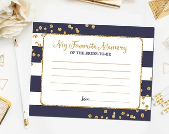 Navy and Gold Favorite Memories of the Bride to Be,  Bridal Shower Games, Gold Glitter Navy Blue, Printable Instant Download BR13